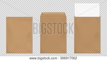 Brown Envelopes A4 Template Set. Blank Closed And Open Craft Paper Covers, Vertical Letter Package W