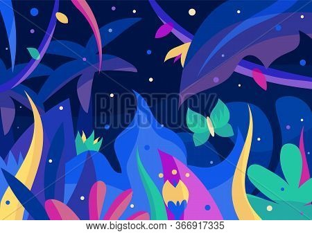 Beautiful Night Jungle Postcard With Palms, Flowers, Fireflies And Butterfly. 2d Vector Illustration