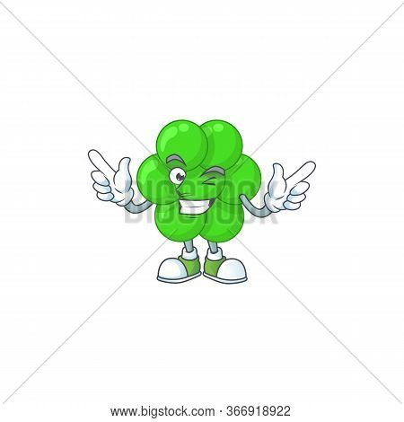 Cartoon Drawing Concept Of Staphylococcus Aureus Showing Cute Wink Eye
