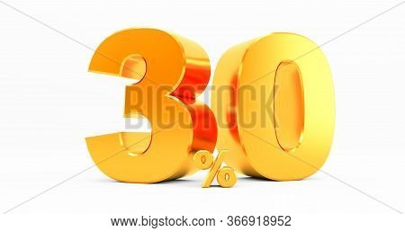 3d Rendering Of A Golden Thirty Percent On A White Background. Sale Of Special Offers. Discount With