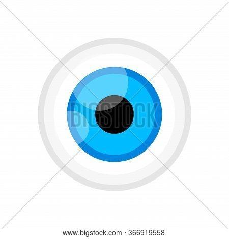 Eyeball Blue Color Isolated On White, Eye Graphic Blue For Icon, Eyesight Symbol, Eyeball Cartoon Fo