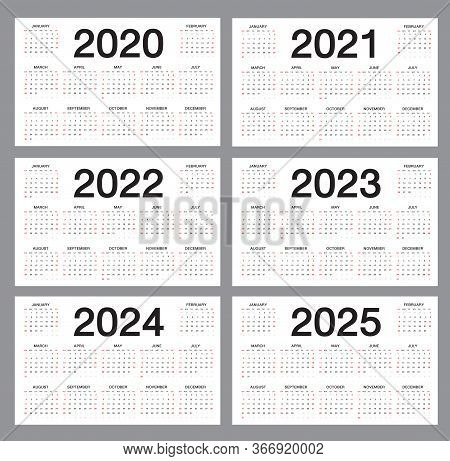Simple Calendar Template For 2020, 2021, 2022, 2023, 2024, 2025 Years On White Background, Desk Cale