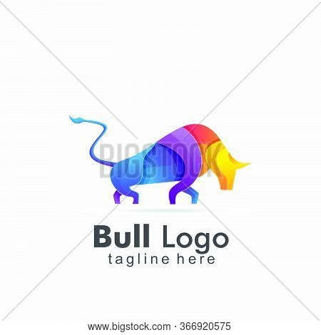 Abstract Bull Colorful Logo Design. Abstract Icon Bull And Cow Design
