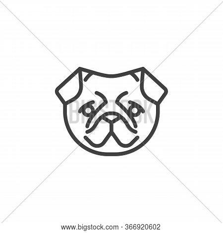 Pug Dog Face Line Icon. Linear Style Sign For Mobile Concept And Web Design. Pug Dog Breed Outline V