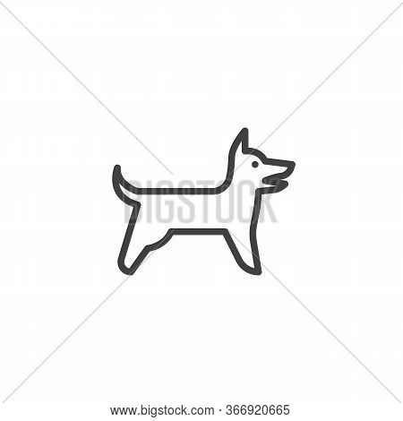 Barking Dog Line Icon. Linear Style Sign For Mobile Concept And Web Design. Dog Side View Outline Ve