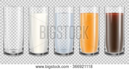 Empty And Full Glass Realistic Set. Milk, Water, Juice And Cola In Translucent Cups Isolated On Tran