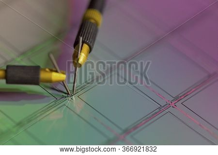 Manual Probe System With Needles For Test Of Semiconductor On Silicon Wafer. Selective Focus.