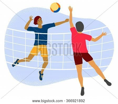 Two Men Plays Volleyball Through Net. Flat Vector Stock Illustration With A Young Or Adult Male Voll