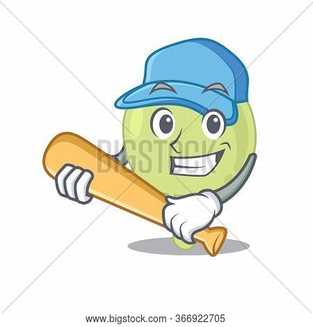 Attractive Lymph Node Caricature Character Playing Baseball