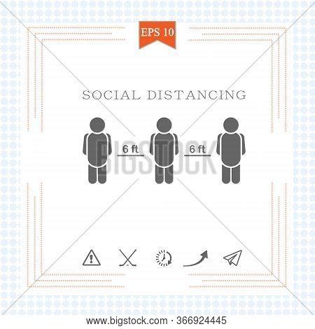 Keeping A Distance Vector Sign.6 Feet Rule. Social Distancing Vector Icon. Social Distancing Campaig