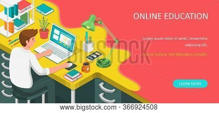 Learning Online At Home. Student Sitting At Desk And Looking At Laptop. E-learning Banner. Web Cours