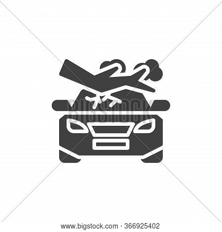 Tree Fall Down On Car Vector Icon. Filled Flat Sign For Mobile Concept And Web Design. Car Crushed B