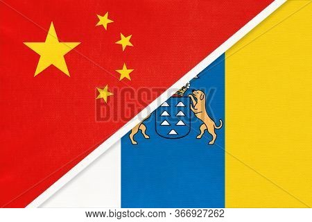 People's Republic Of China Or Prc And Canary Islands, National Flag From Textile. Relationship, Part