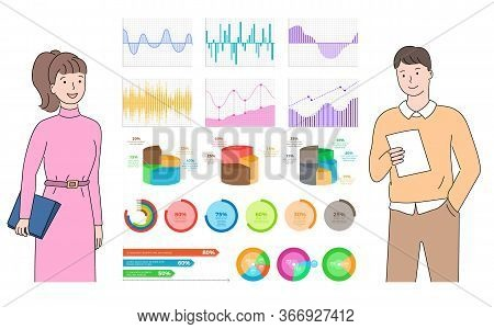 Infocharts And Infographics Vector, Presentation Of Information On Board, Woman And Man Looking At V