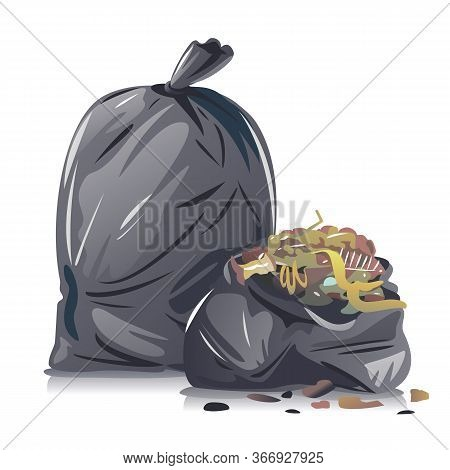 Two Black Garbage Bags With Organic Waste Composition Isolated On White, Utilization Of Household Wa