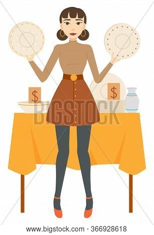 Seller Or Buyer Woman Holding Dishware, Retail Of Ceramic Plate, Bowl And Jug. Clean Dish On Table W