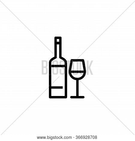 Icon Of Wine Bottle And Glass. Beverage, Merlot, Drink. Alcohol Concept. Can Be Used For Topics Like