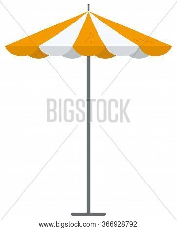 Big Orange Striped Market Summer Outdoor Umbrella Isolated On White Background. Parasol Beach Protec