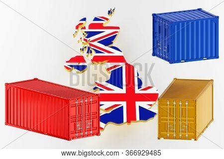 3d Map Of Great Britain. Freight Shipping In Containers. Export From The Country In Containers. 3d R
