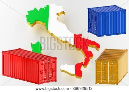 3d Map Of Italy. Freight Shipping In Containers. Export From The Country In Containers. 3d Rendering