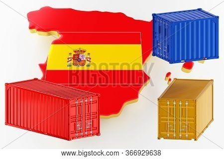 3d Map Of Spain. Freight Shipping In Containers. Export From The Country In Containers. 3d Rendering