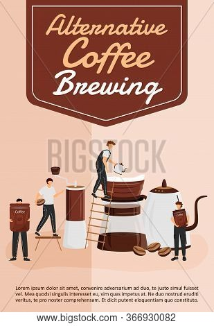 Alternative Coffee Brewing Poster Flat Vector Template. Filter And Pour Over Utensils. Brochure, Boo