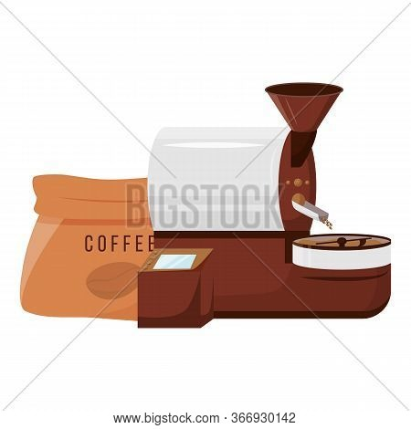Roaster Machine Cartoon Vector Illustration. Arabica And Robusta Supplier Services. Small Business.