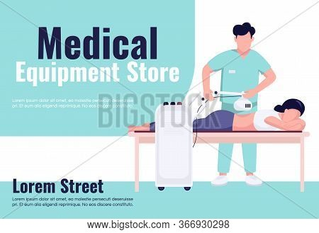 Medical Equipment Store Banner Flat Vector Template. Brochure, Poster Concept Design With Cartoon Ch
