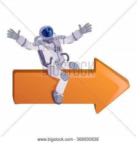 Astronaut Sitting On Arrow Flat Cartoon Vector Illustration. Spaceman, Cosmonaut In Spacesuit. Ready