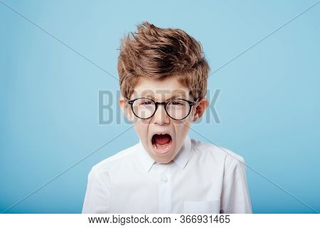 Screaming Little Boy In Glasses Look At The Camera, Isolated On Blue Background