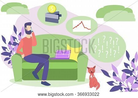 Vector Illustration Of Home Work Freelance. Economic Crisis Due To Interruption Of Work Due To Coron