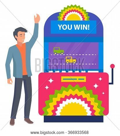 Game Machine With Cars Competition Vector, Racing Of Transport Driving In Line. Man Smiling Of Victo