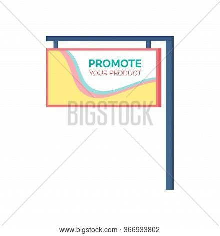 Promote Your Product, Standard Advertising Stand Banner Shield Display Isolated Vector Icon. Board W