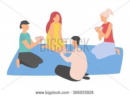 Man And Woman Characters Sitting On Mat And Playing, Friends Holding Cards, Male And Female In Casua