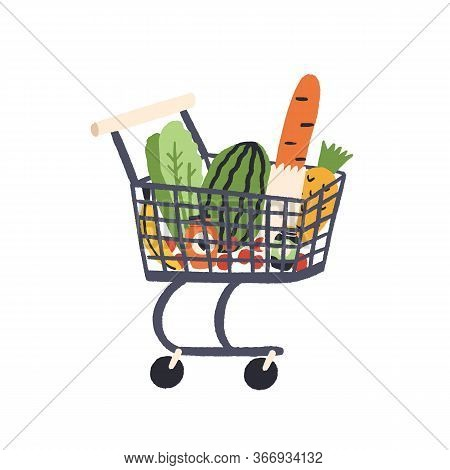Cartoon Trolley With Healthy Food Vector Flat Illustration. Colorful Full Shopping Cart With Grocery