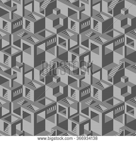 Seamless Pattern With Stairs, Balconies And Windows Making An Optical Illusion. Geometry Texture Rep