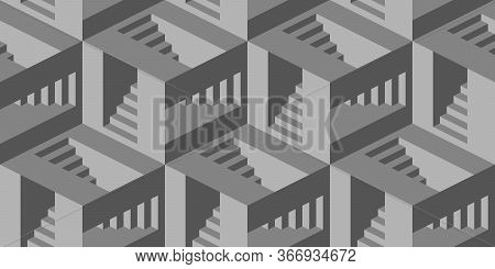 Seamless Pattern With Stairs Making An Optical Illusion. Geometry Texture Repeat Background.