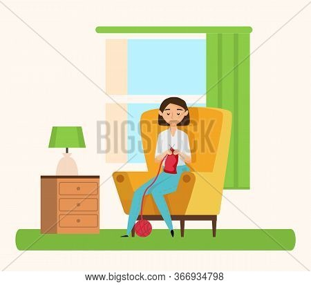 Woman Knitting, Hobby Past Time. Vector Cartoon Style Lady Sitting On Armchair And Needle Crafting.