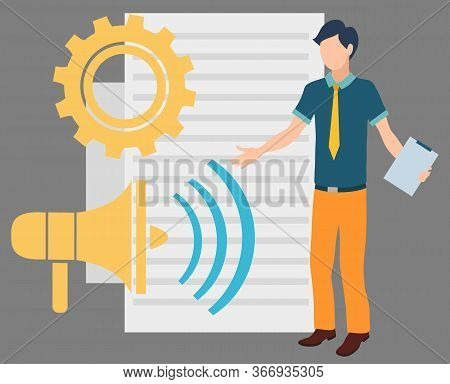 Megaphone Bullhorn And Document Paper Vector, Character Novice At Work With Clipboard. Wheel Cogwhee