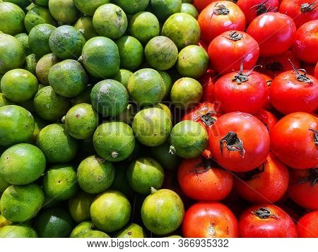 Green Lemons With Red Tomatoes, Contrast Color
