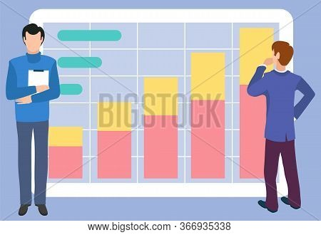 Board Big Screen With Infochart Vector, Man In Thoughts And Assistant Holding Documents. Scheme Expl