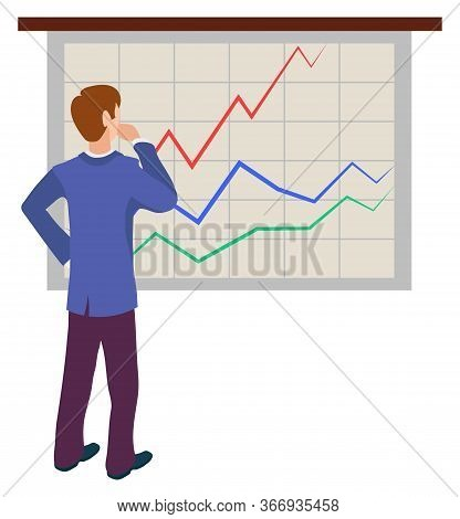 Man Analyzing Sales On Graphs And Charts, Join To Our Team Concept. Vector Male Cartoon Character Ba