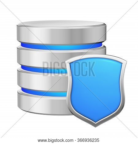 Database With Metal Blue Shield Protected From Unauthorized Access, Data Protection Concept, 3d Illu