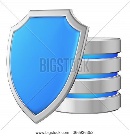 Data Base Behind Metal Blue Shield On Left Protected From Unauthorized Access, Data Protection Conce