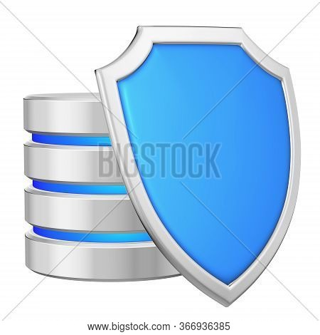 Data Base Behind Metal Blue Shield On Right Protected From Unauthorized Access, Data Protection Conc
