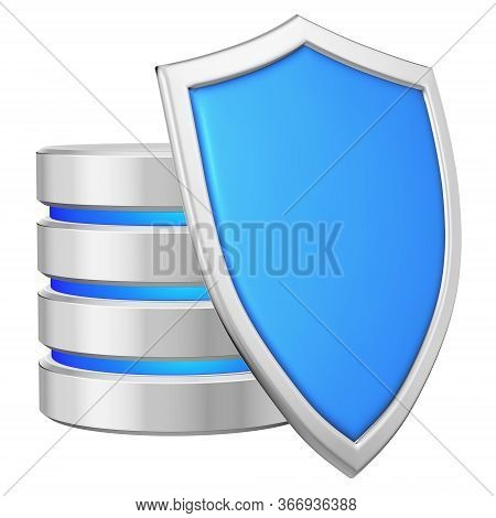 Database Behind Blue Metal Shield On Right Protected From Unauthorized Access, Data Protection Conce