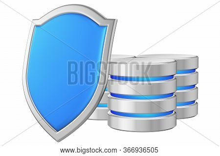 Data Bases Group Behind Blue Metal Shield On Left Protected From Unauthorized Access, Data Protectio