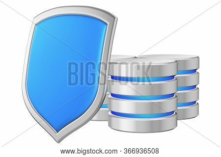 Databases Group Behind Metal Blue Shield On Left Protected From Unauthorized Access, Data Privacy Co