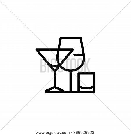 Icon Of Alcoholic Drinks. Menu, Liquor, Drink. Drinking Establishment Concept. Can Be Used For Topic
