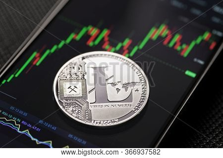 Silver Litecoin Cryptocurrency Trading On Smartphone Close Up
